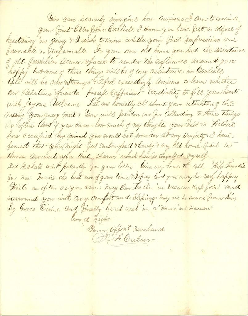 Joseph Culver Letter, August 30, 1863, Page 3