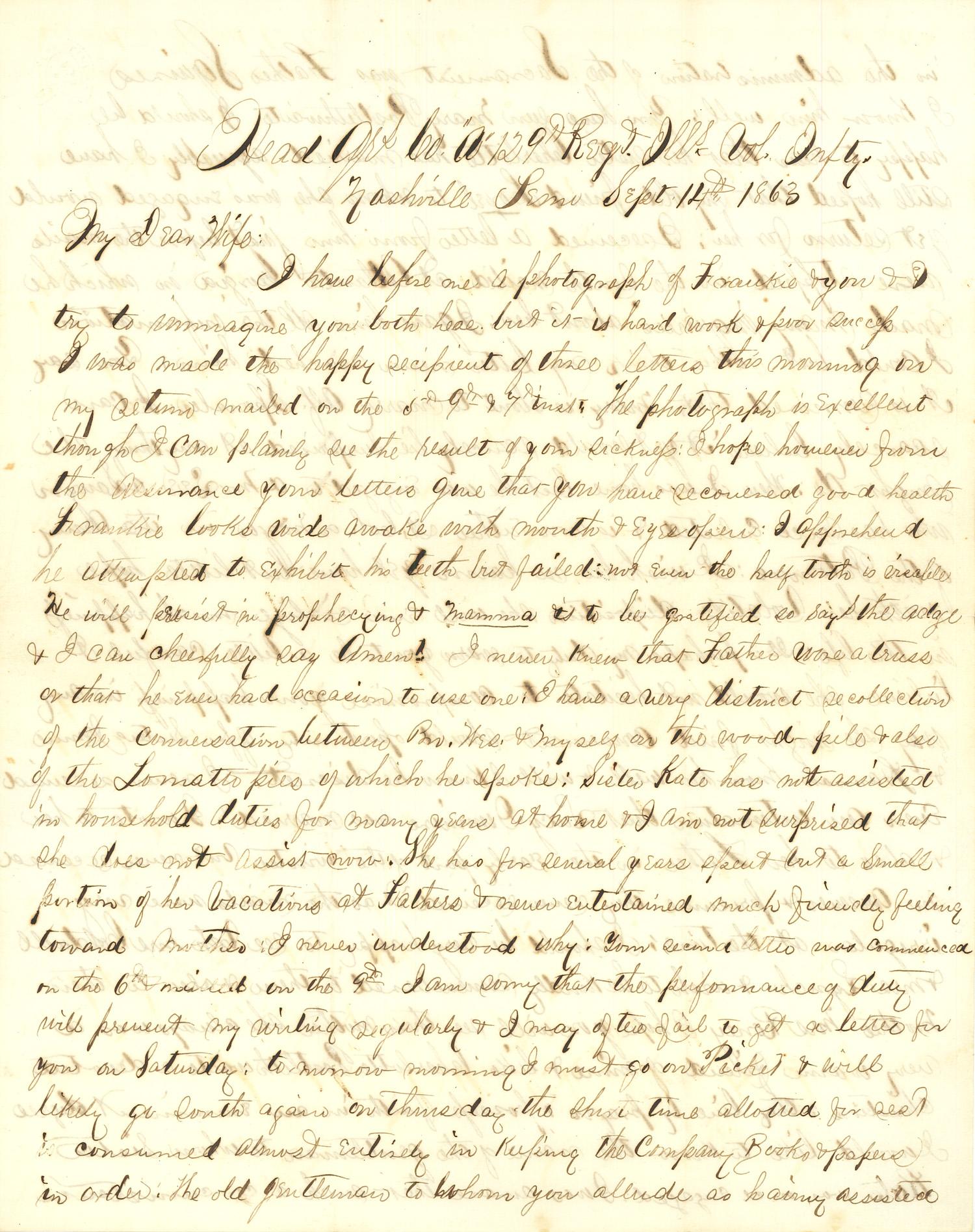 Joseph Culver Letter, September 14, 1863, Page 1