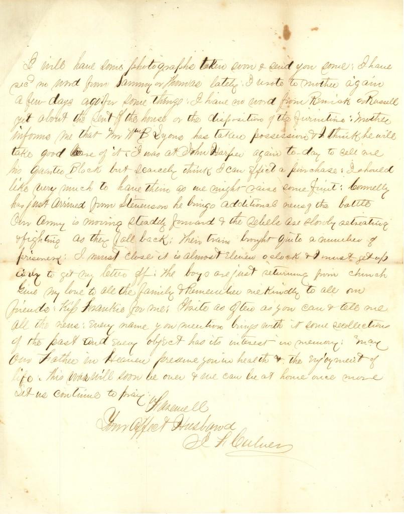 Joseph Culver Letter, September 14, 1863, Page 5