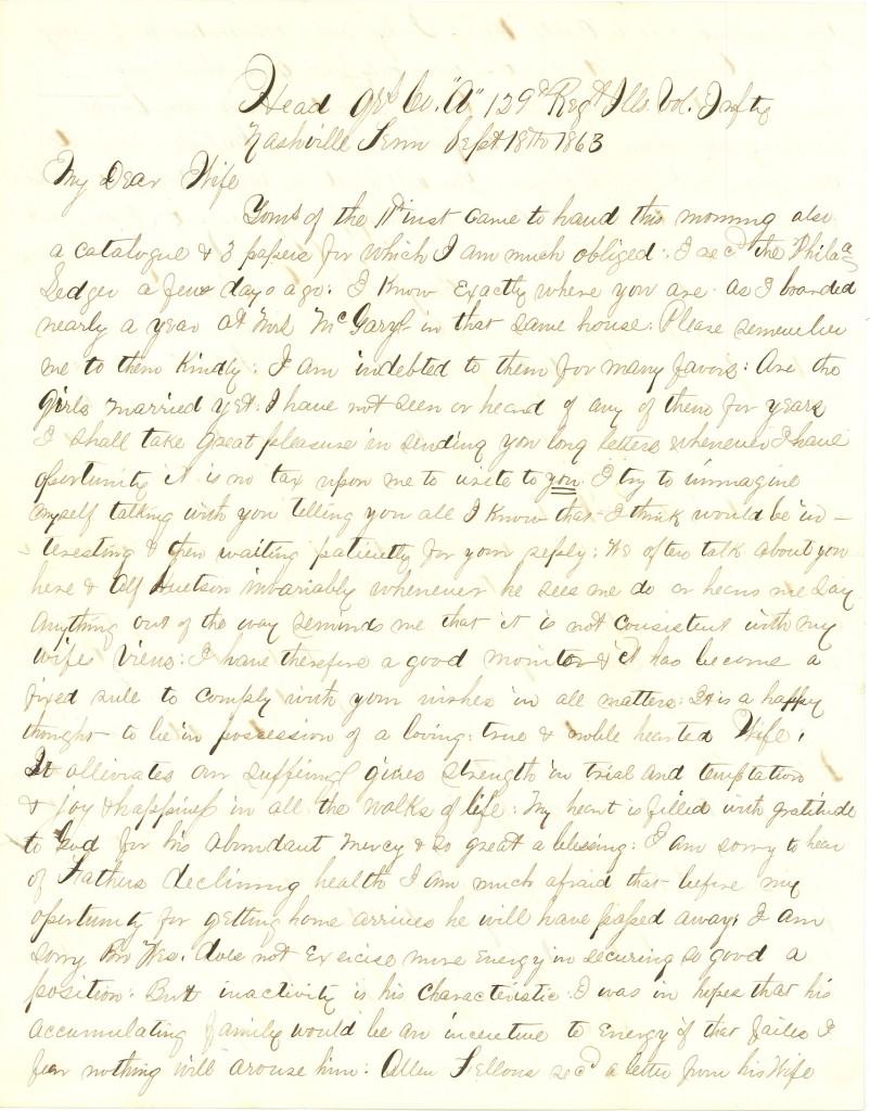 Joseph Culver Letter, September 18, 1863, Page 1