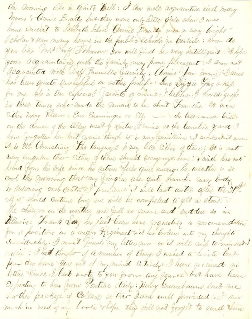 Joseph Culver Letter, September 18, 1863, Page 2
