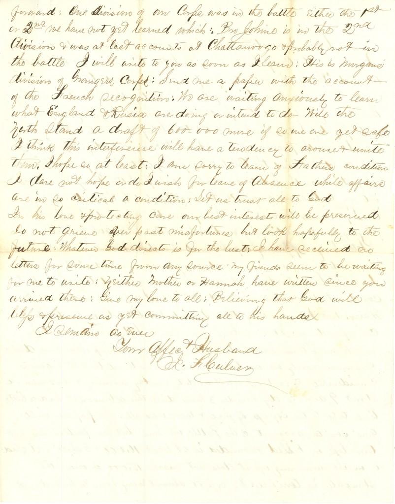 Joseph Culver Letter, September 19, 1863, Page 6