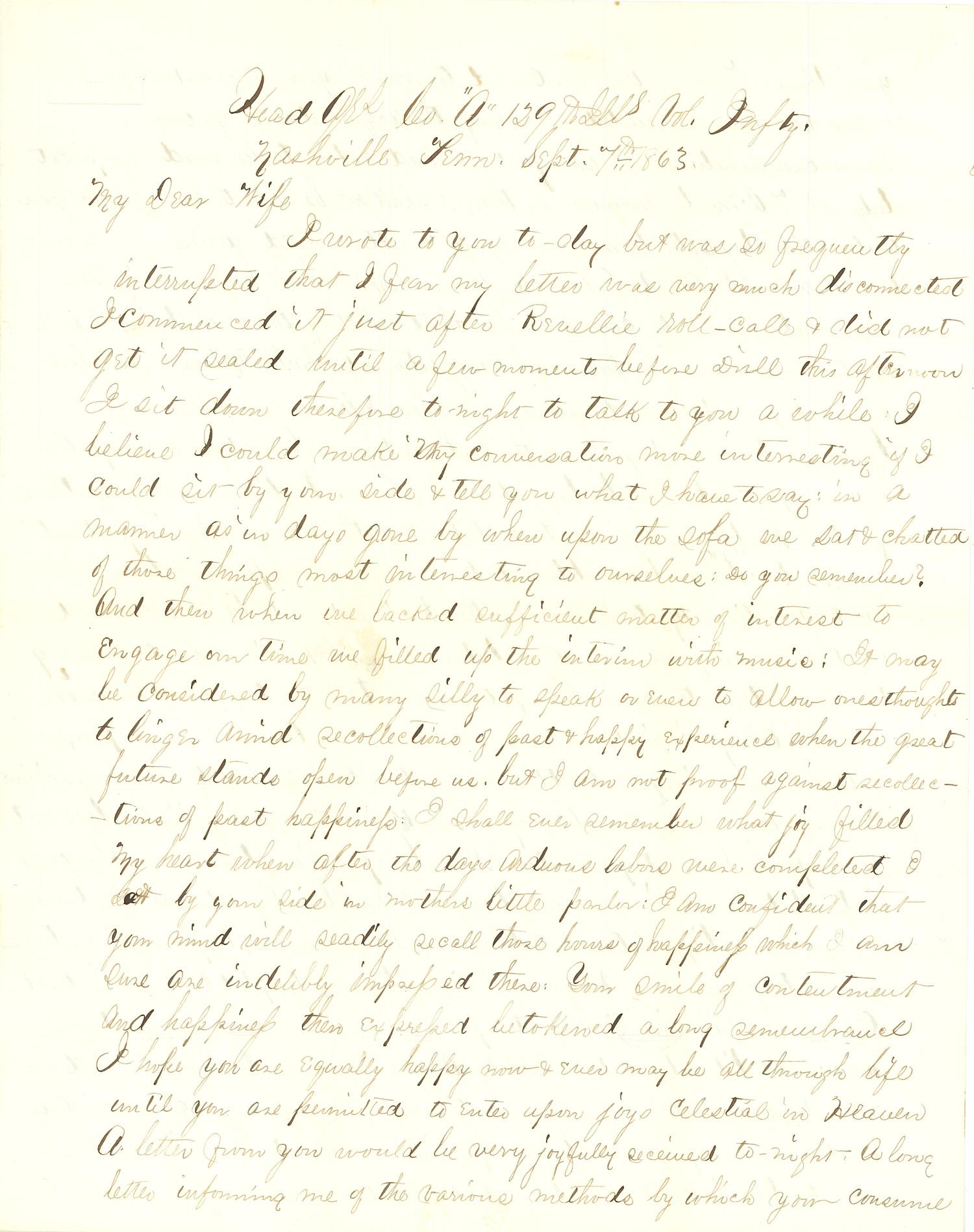 Joseph Culver Letter, September 7, 1863, Letter 3, Page 1