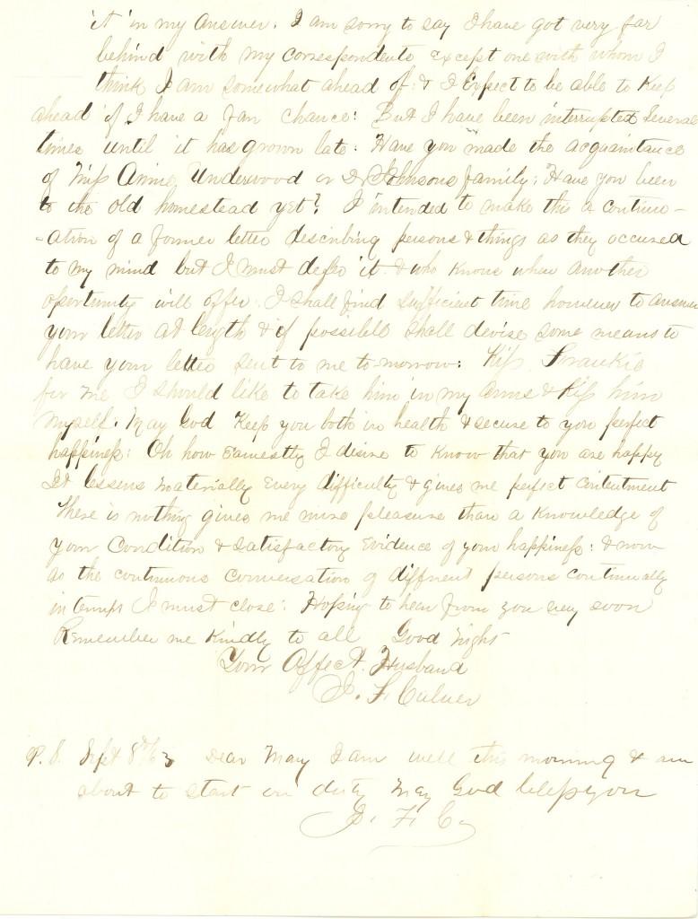 Joseph Culver Letter, September 7, 1863, Letter 3, Page 3