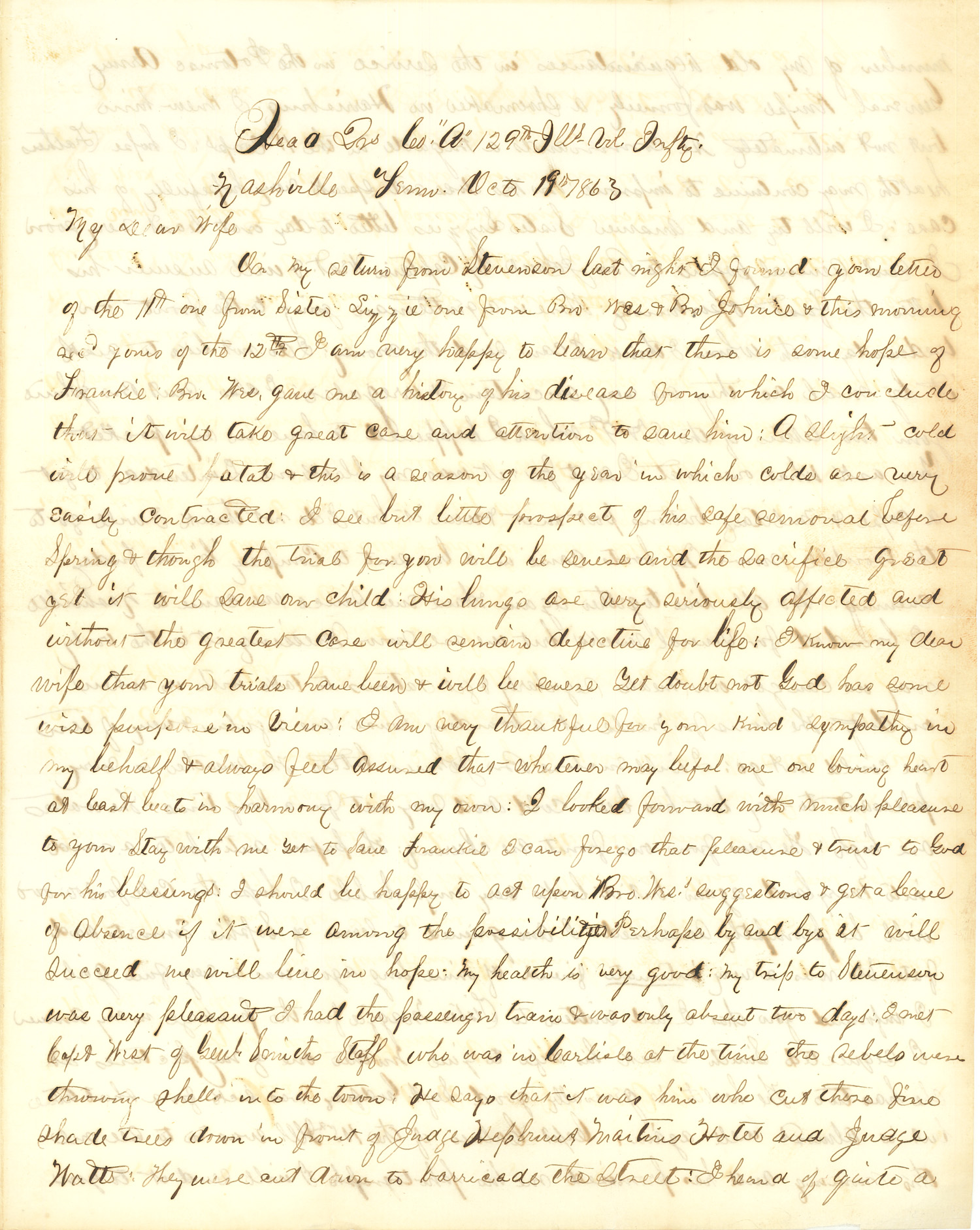 Joseph Culver Letter, October 19, 1863, Page 1
