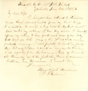 Joseph Culver Letter, October 28, 1863, Page 1