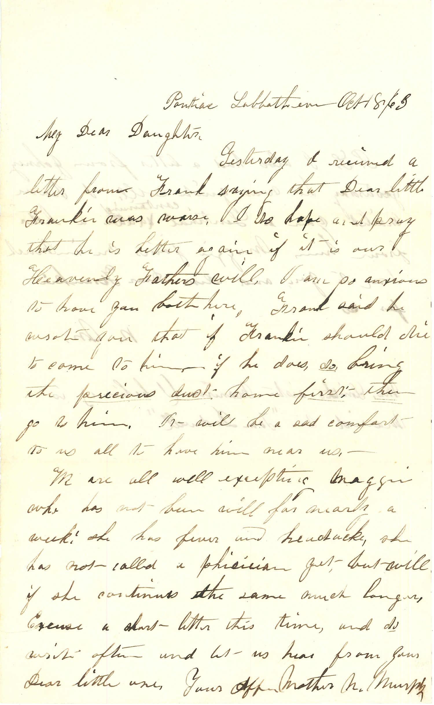 Joseph Culver Letter, October 8, 1863, Page 1