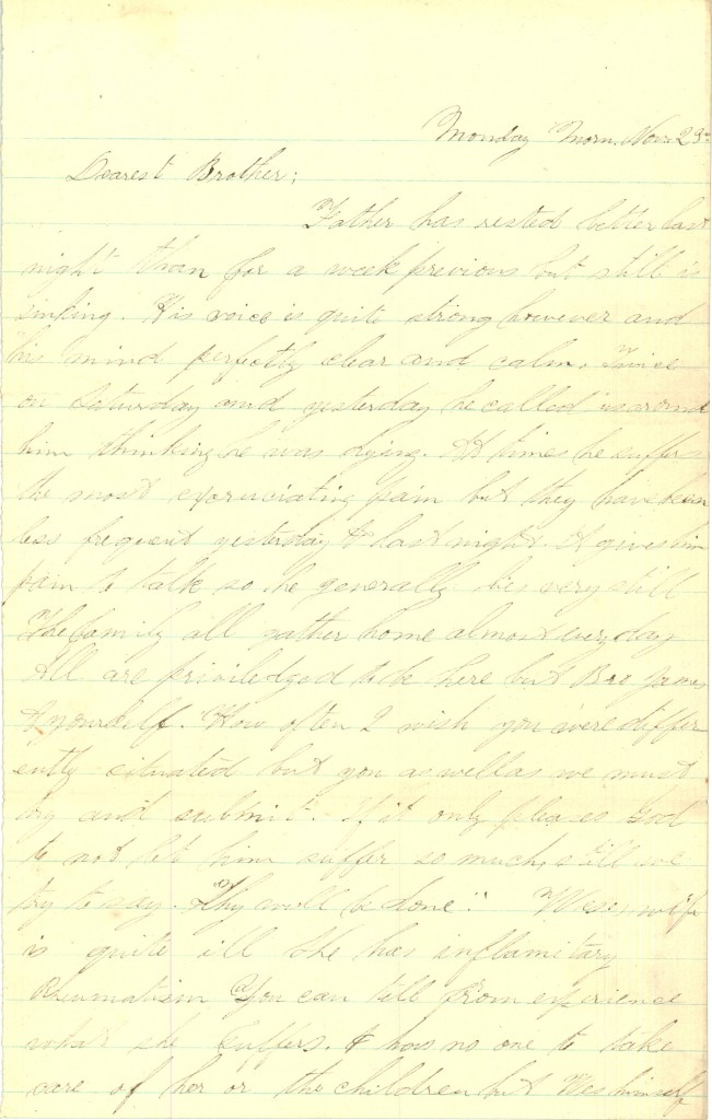 Joseph Culver Letter, November 23, 1863, Page 1