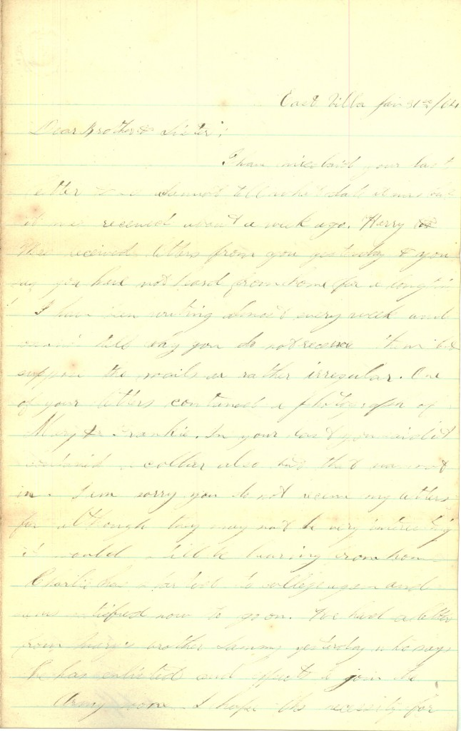 Joseph Culver Letter, January 31, 1864, Page 1