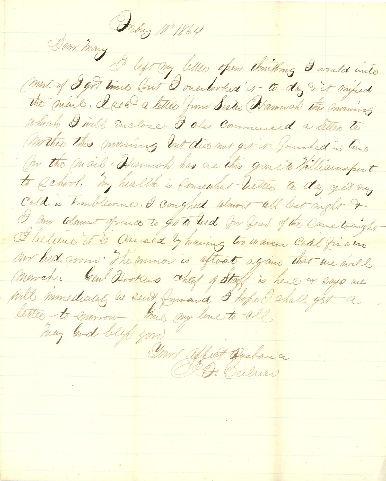 Joseph Culver Letter, February 10, 1864, Page 1