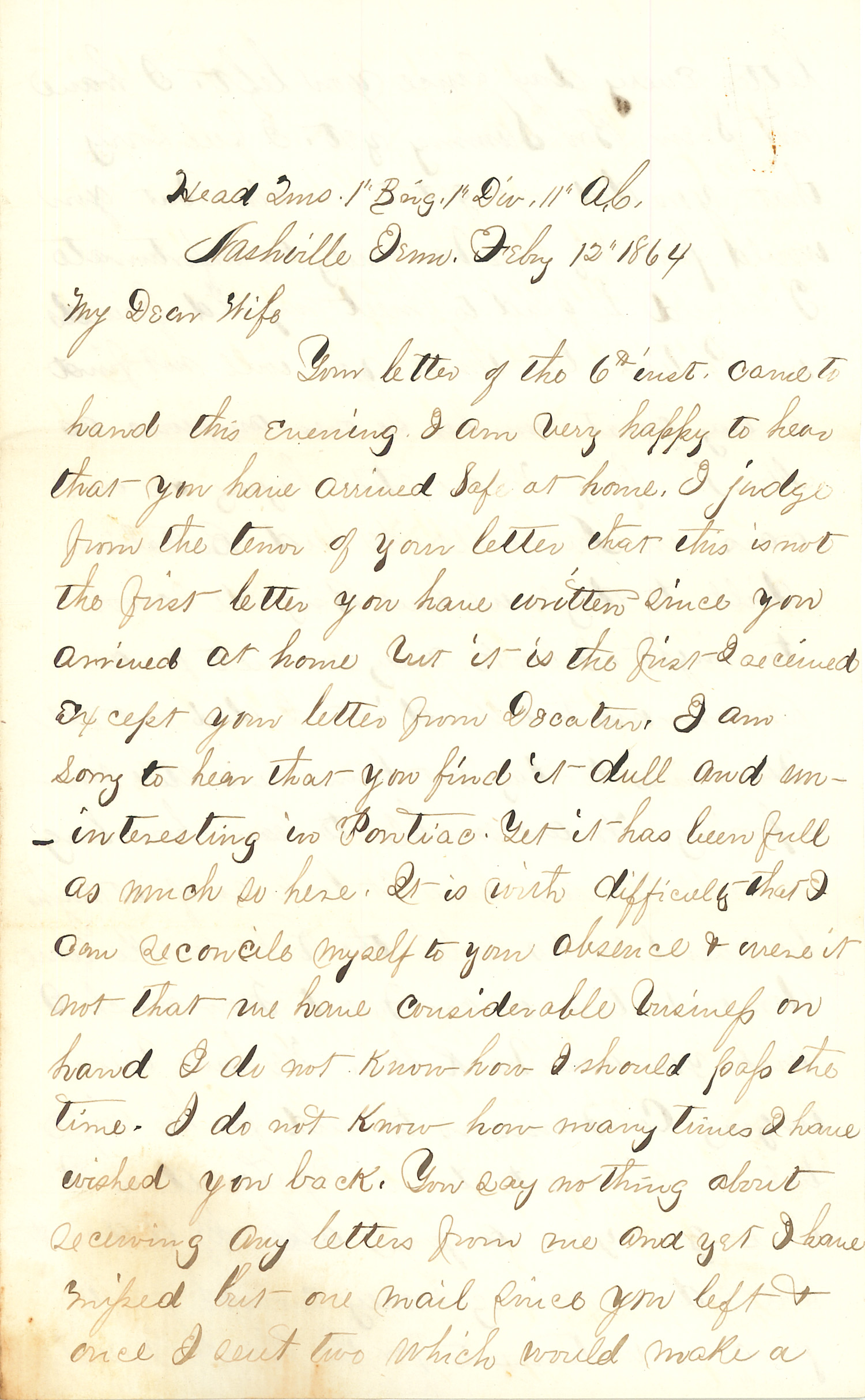 Joseph Culver Letter, February 12, 1864, Page 1