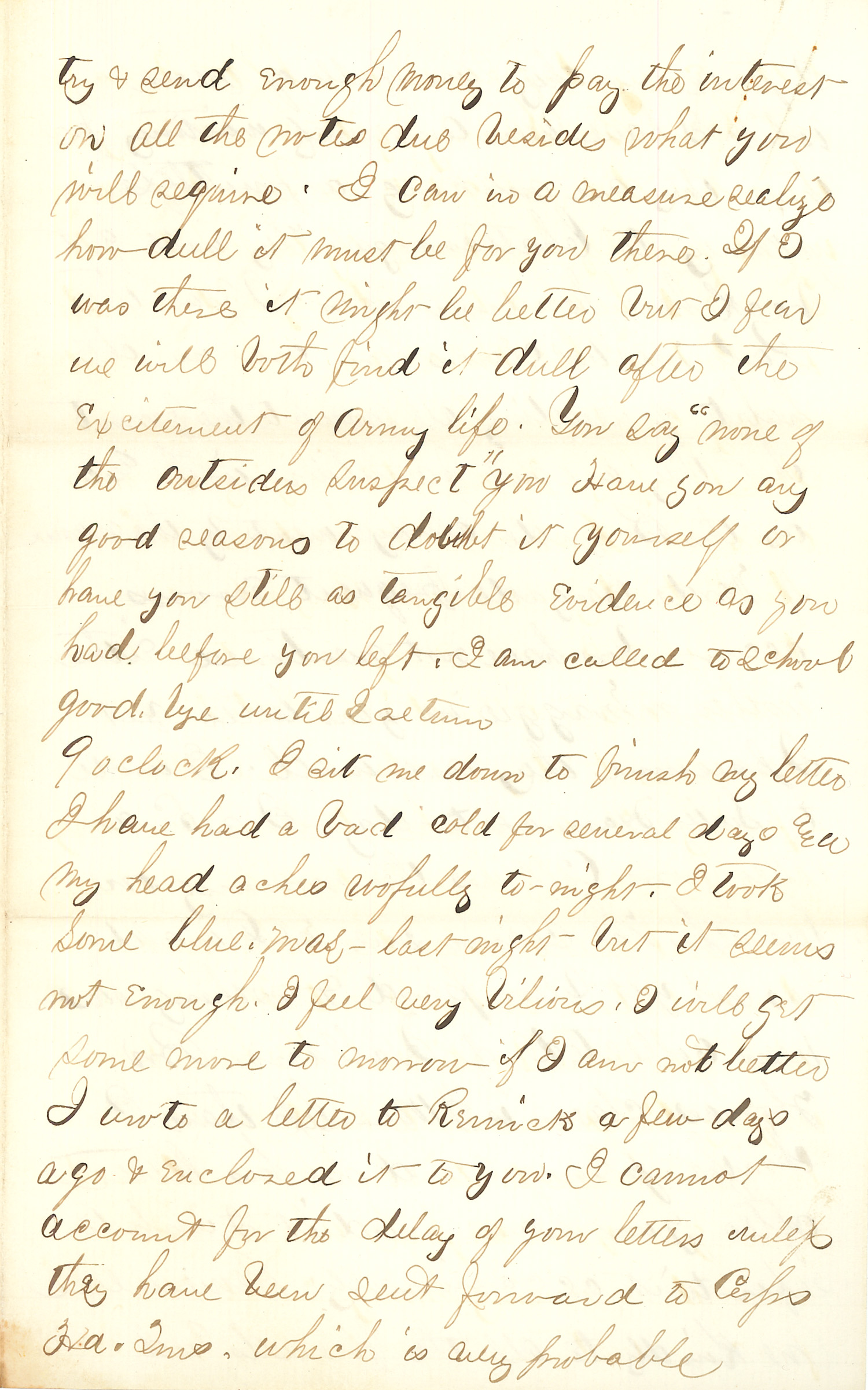 Joseph Culver Letter, February 12, 1864, Page 3