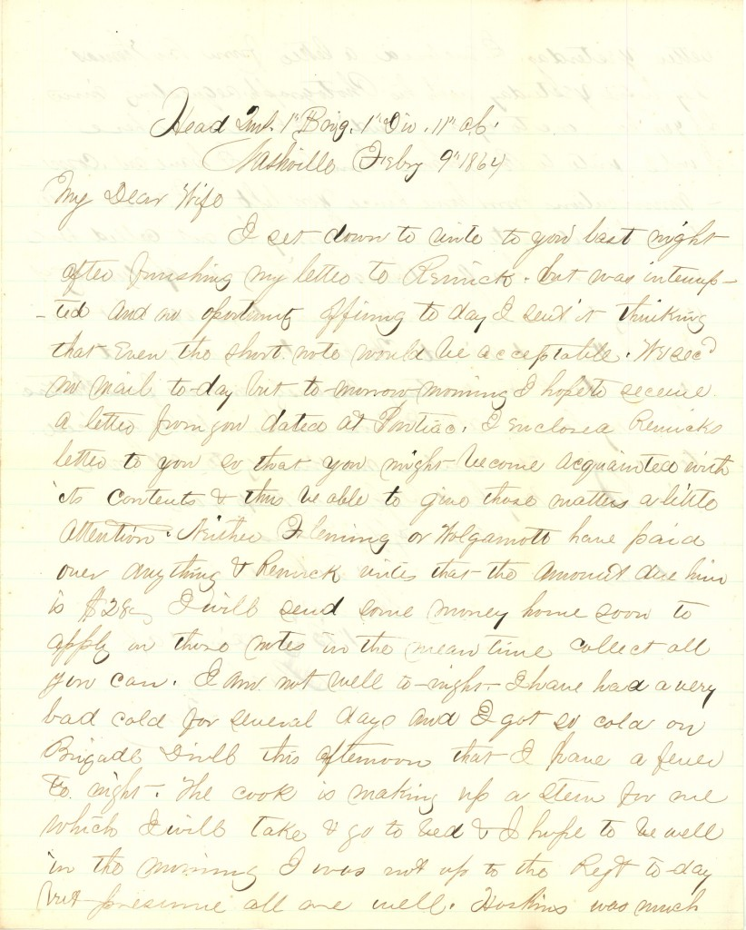 Joseph Culver Letter, February 9, 1864, Page 1