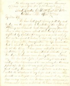 Joseph Culver Letter, April 7, 1865, Page 1