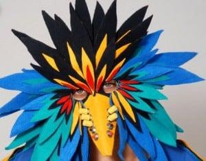 """Dream Squawk"" mask created by Amy Khoshbi."