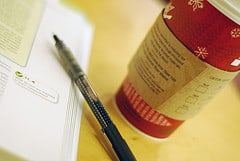 picture of coffee and pen and book