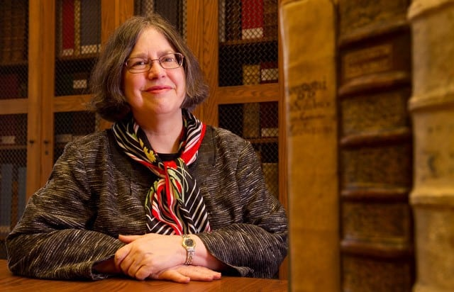picture of Donna Hirst in rare book room