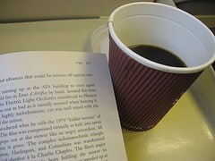 picture of coffee and book