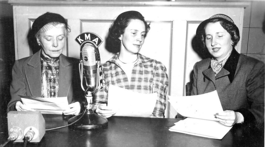 Evelyn Birkby interviewing guests on KMA radio program, Shenandoah, Iowa, March 21, 1951