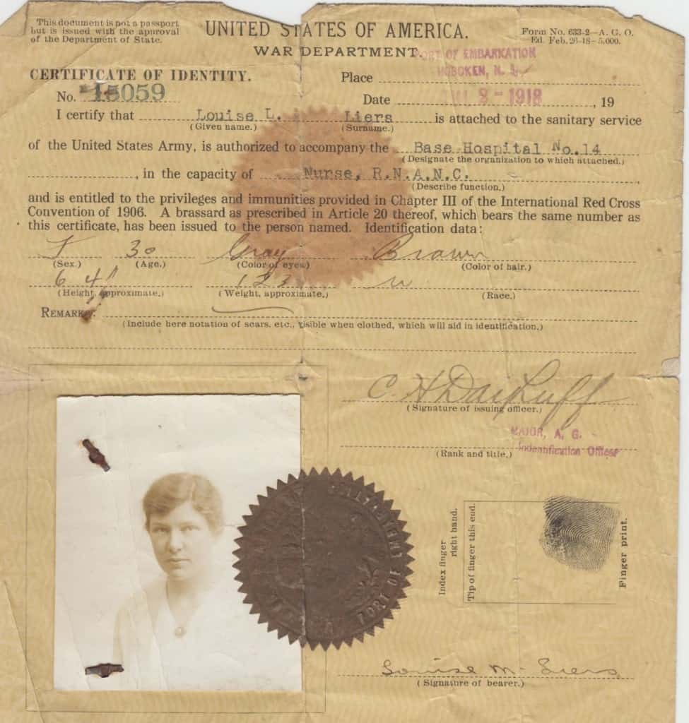 Louise Liers's war identification. Louise Liers Papers, Iowa Women's Archives, The University of Iowa Libraries, Iowa City.