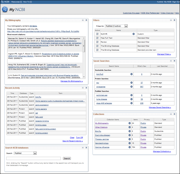 Image of the new My NCBI landing page