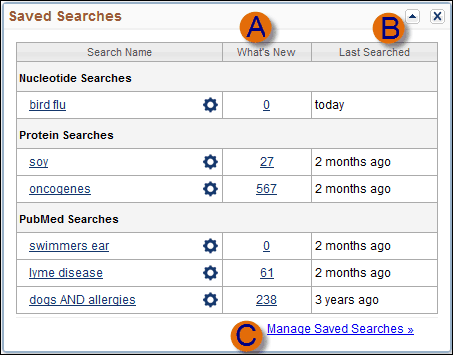 Image of My NCBI Saved Search Screen