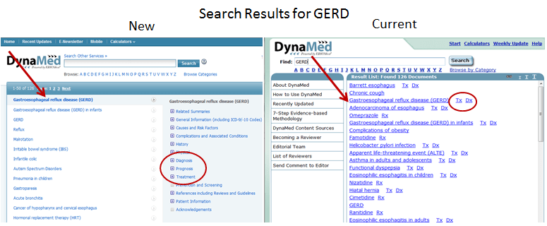 Images of Search Results in new and current DynaMed interfaces