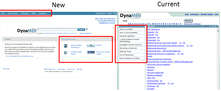 Screen shot of new and current DynaMed homepages
