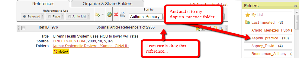 This image shows the ability to click on a citation and drag it into a folder.