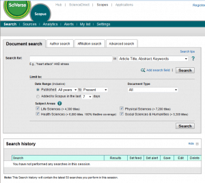 Screen shot of the Scopus Interface