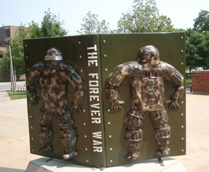 The Forever War is UI Libraries BookMarks Statue