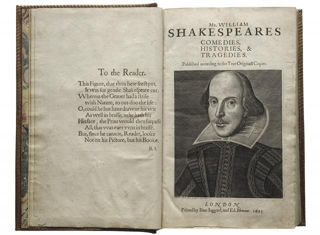 Title page of Shakespeare's first folio.