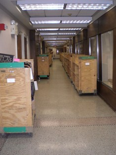 Hallway at Geosciences Lined with Carts