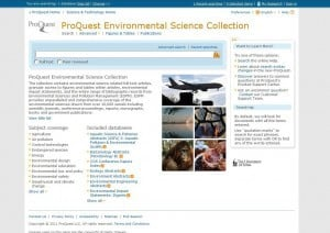 Screenshot of the ProQuest Environmental Sciences Collection front page