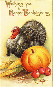 &quot;Wishing you a Happy Thanksgiving&quot; vintage greeting card