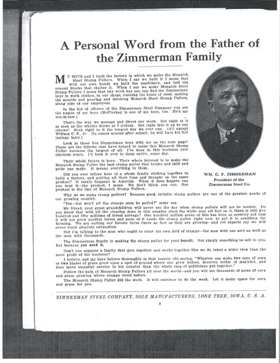 Zimmerman on Zimmerman Family     Advertising Brochure Of The Zimmerman Steel
