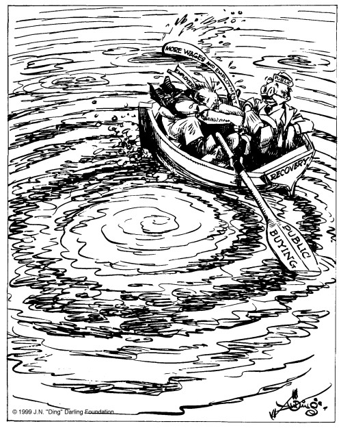"""If we're going to get anywhere somebody's got to pull that oar."" By J. N. ""Ding"" Darling, Des Moines Register, August 27, 1933"