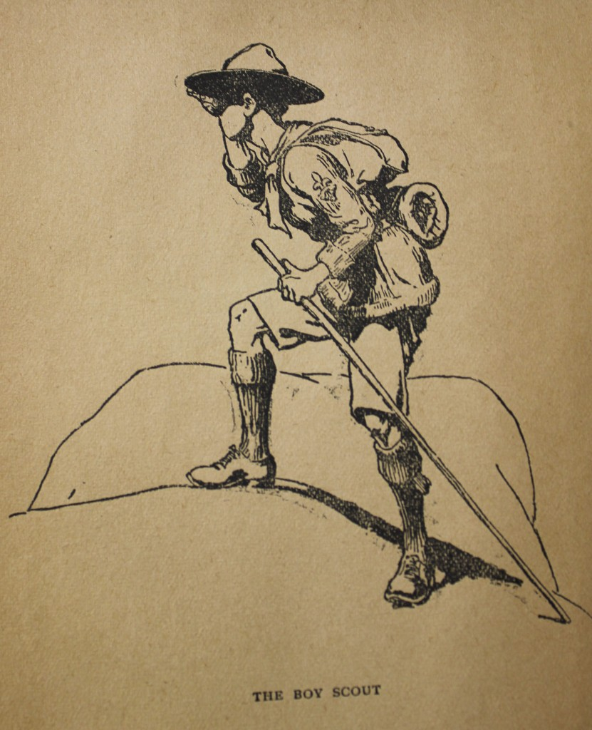 "The classic image of the Boy Scout from Lord Baden-Powell's 1910 ""Scouting for Boys""."