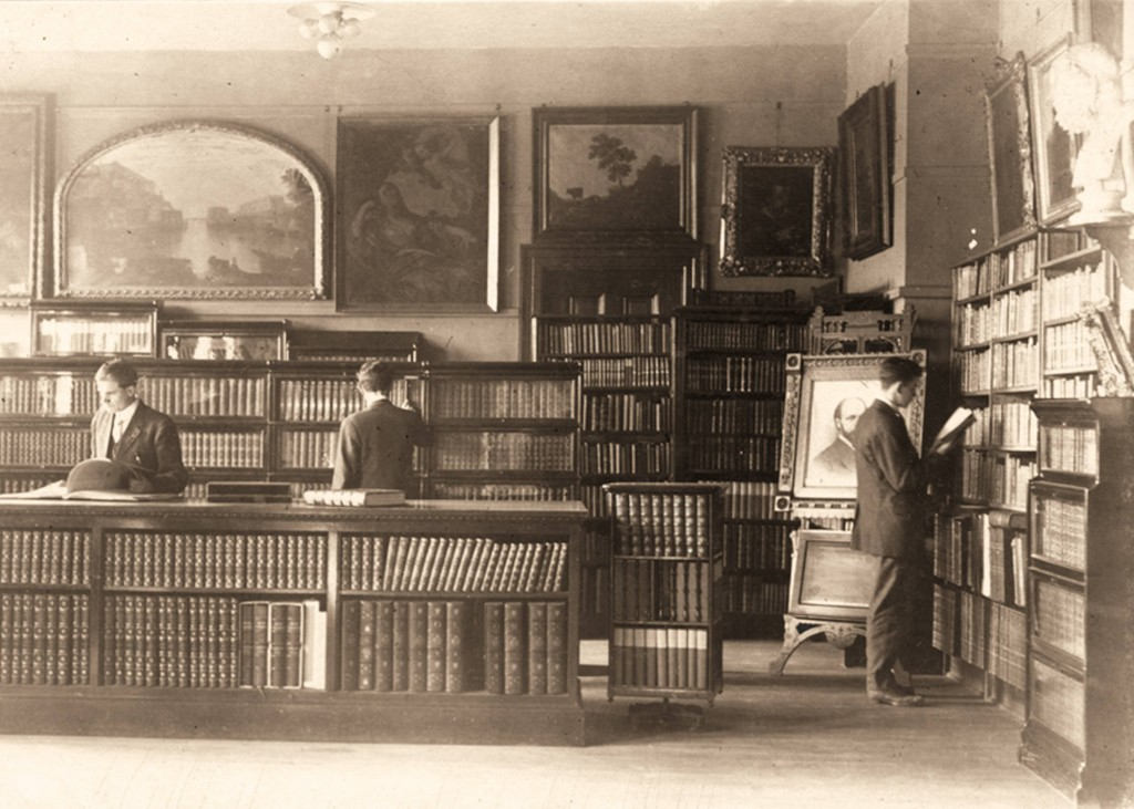 Photograph of Ranney Memorial Library with the portrait visible in the room