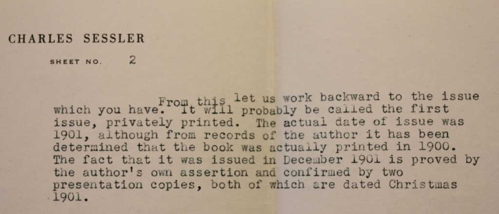 Acquisition papers from 1948 stating this book was printed in 1900.