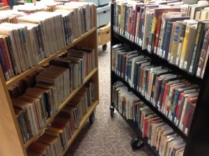 Two carts of books