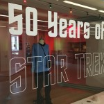 "Exhibition title on the front window ""50 Years of Star Trek"""
