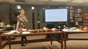 Margaret Gamm presenting to the Iowa Bibliophiles