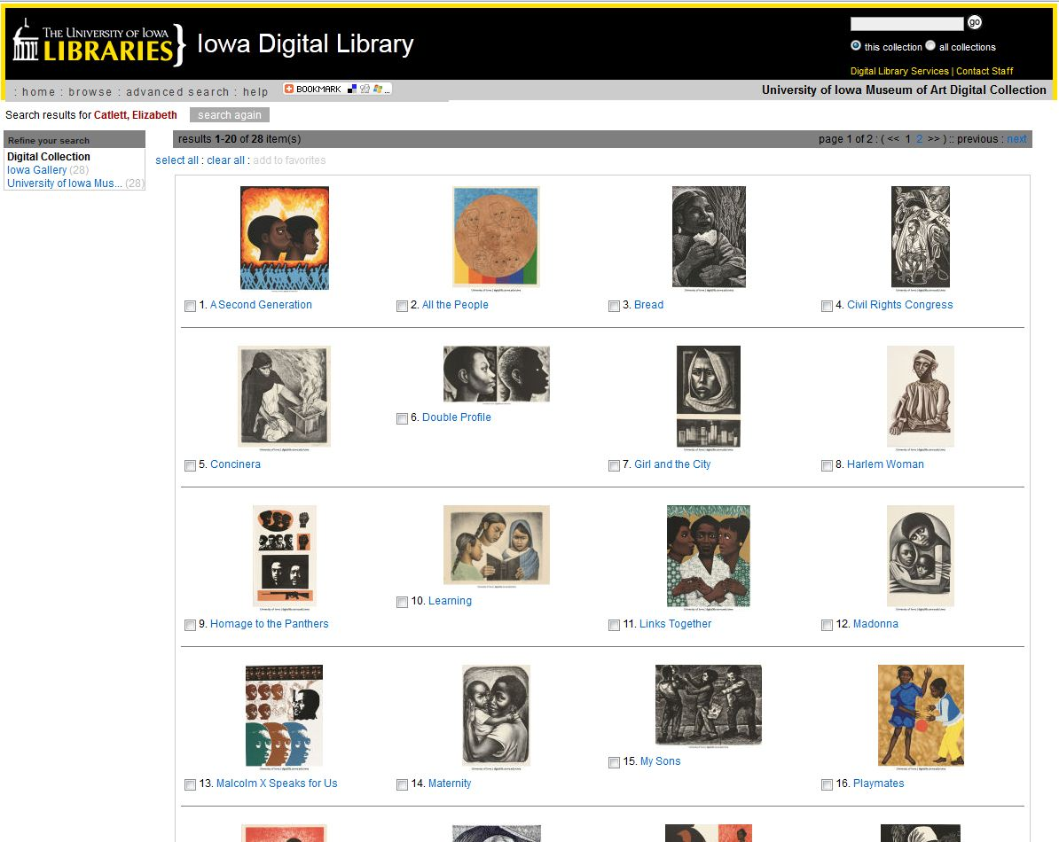 Elizabeth Catlett in the University of Iowa Museum of Art digital collection