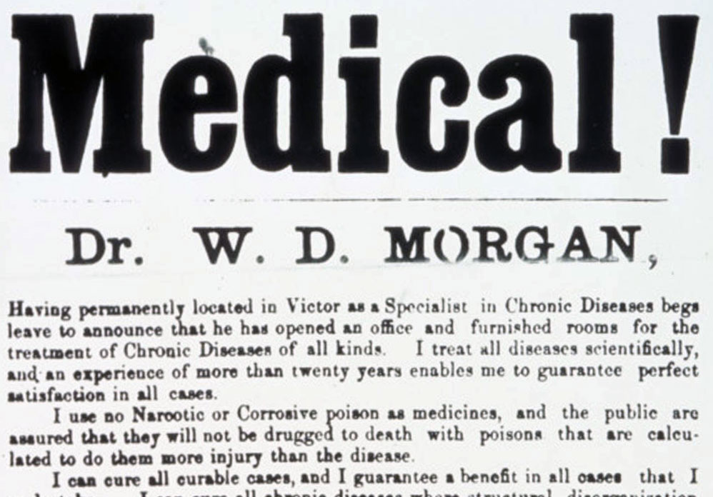 Medical practice announcement, Victor, Iowa, 1864 | UI College of Medicine Historical Photographs