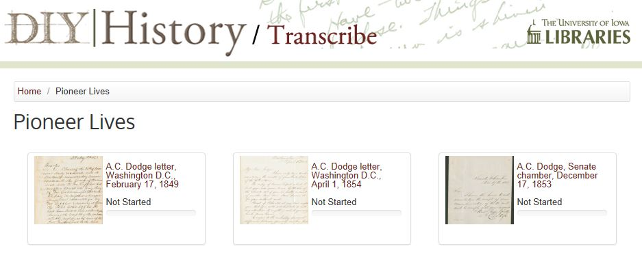 Pioneer Lives transcription collection-in-progress