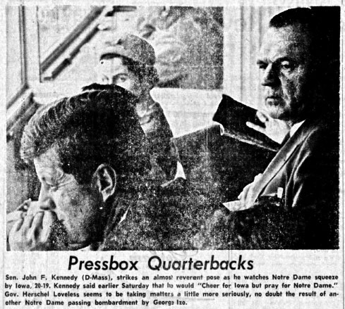 Pressbox quarterbacks, The Daily Iowan, Nov. 24, 1959  |  The Daily Iowan Digital Collection