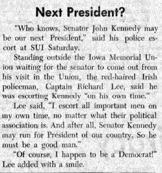 Next president?, The Daily Iowan, Nov. 24, 1959  |  The Daily Iowan Digital Collection