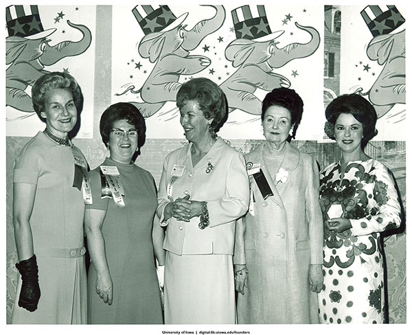 Mary Louise Smith, Pat Pardun, Mary Brooks, Lois Reed, and Shirley Temple Black at the Republican Women's Conference, Washington, D.C., 1968