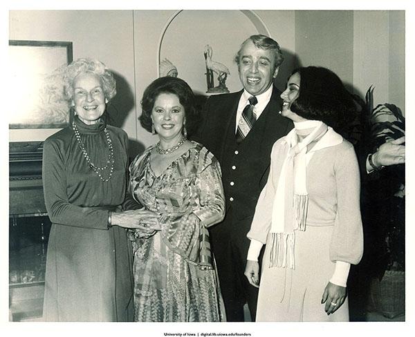 Mary Louise Smith, Shirley Temple Black, Jerry Mursener, and Paula Travis at party fund-raiser, Iowa, November, 1977